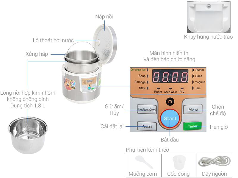 Thông số kỹ thuật Nồi cơm điện tử tách đường Mishio 1.8 lít MK-188