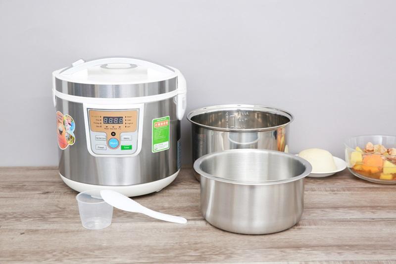 Tặng kèm muỗng lấy cơm, cốc đong gạo, xửng hấp có quai xách - Nồi cơm điện tử tách đường Mishio 5 lít MK-188