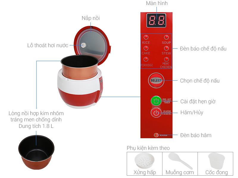 Thông số kỹ thuật Nồi cơm điện nắp gài Kangaroo 1.8 lít KG835