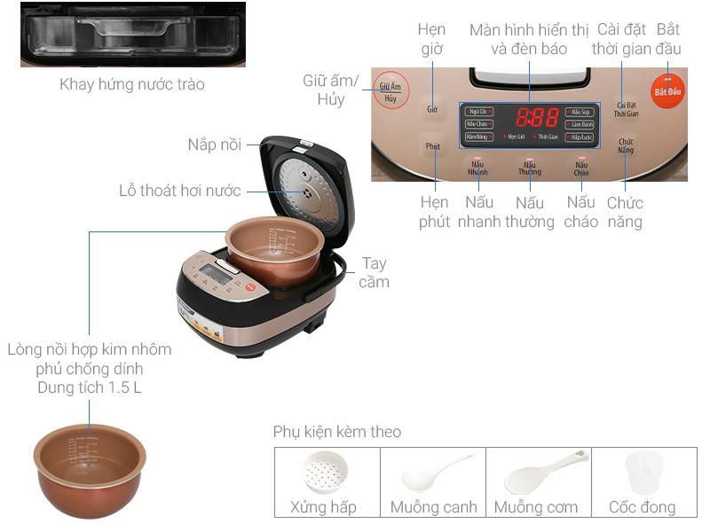 Thông số kỹ thuật Nồi cơm điện tử Bluestone 1.5 lít RCB-5939