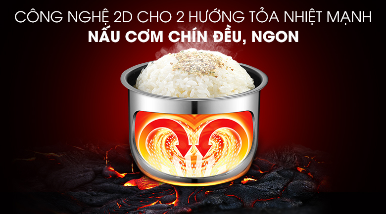 Nồi cơm điện tử Comfee 1.8 lít CR-FD1820C - Công nghệ nấu 2D