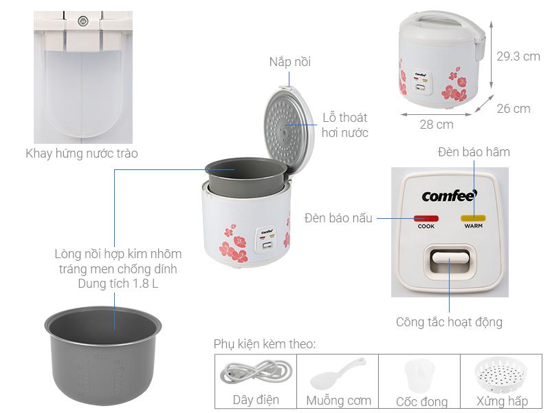 Thông số kỹ thuật Nồi cơm điện nắp gài Comfee 1.8 lít CR-CM1820(C)
