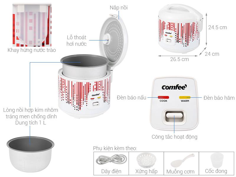 Thông số kỹ thuật Nồi cơm điện nắp gài Comfee 1 lít CR-CM1020(D)