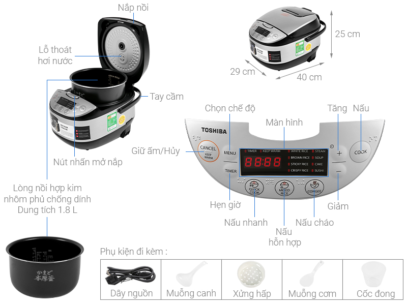 Thông số kỹ thuật Nồi cơm điện tử Toshiba 1.8 lít RC-18DR2PV(K)