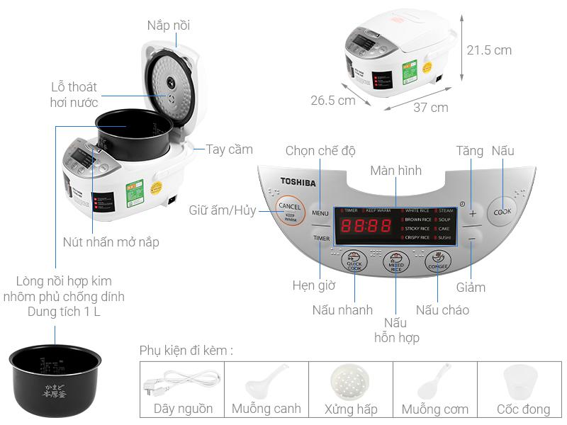 Thông số kỹ thuật Nồi cơm điện tử Toshiba 1 lít RC-10DH2PV(W)