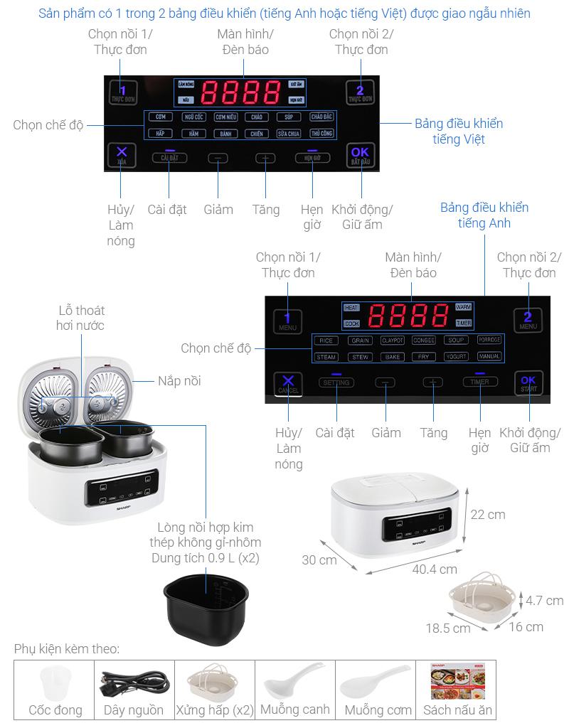 Thông số kỹ thuật Nồi cơm 2 ngăn đa năng Sharp 1.8 lít KN-TC50VN-WH