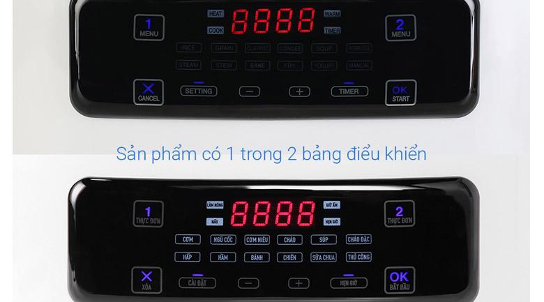 Bảng điều khiển tiếng Việt - Nồi cơm 2 ngăn đa năng Sharp 1.8 lít KN-TC50VN-WH