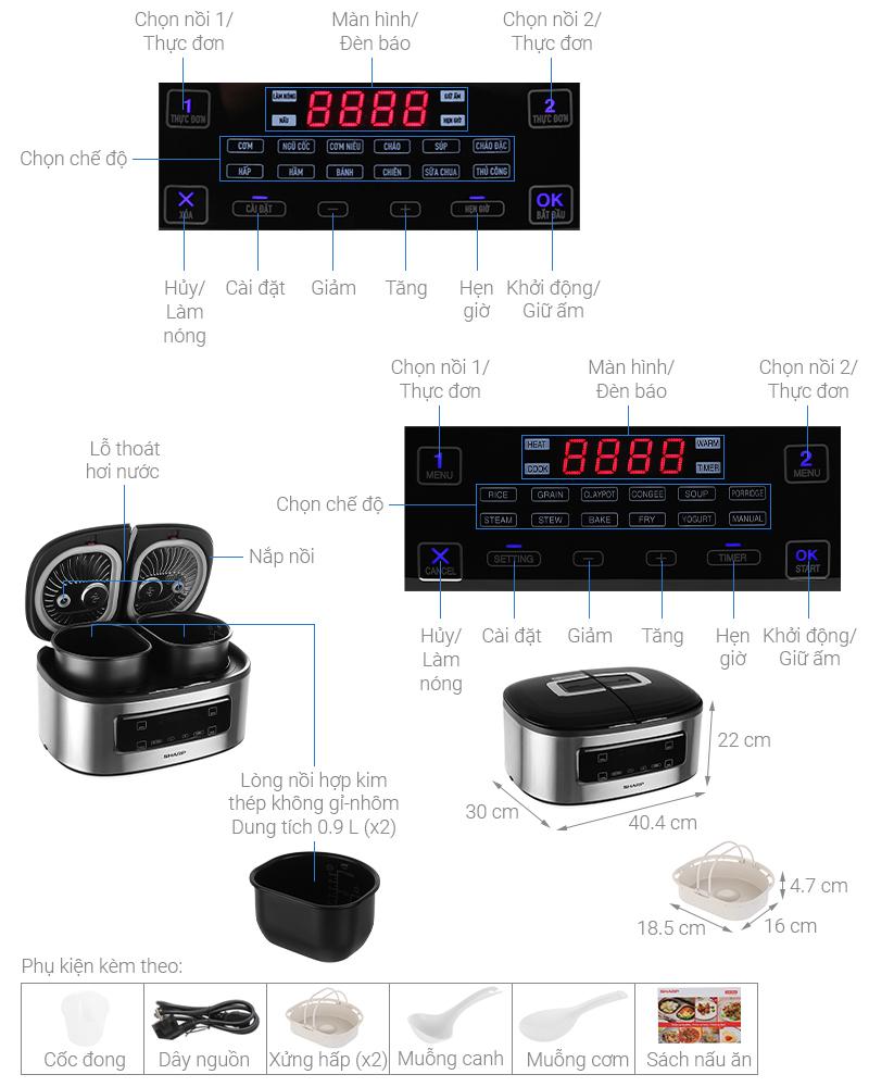 Thông số kỹ thuật Nồi cơm 2 ngăn đa năng Sharp 1.8 lít KN-TC50VN-SL Bạc