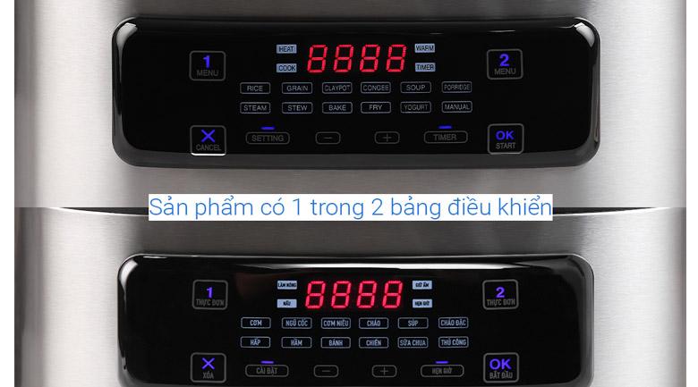Bảng điều khiển Tiếng Việt - Nồi cơm điện tử Sharp 1.8 lít (0.9 lít x 2) KN-TC50VN-SL