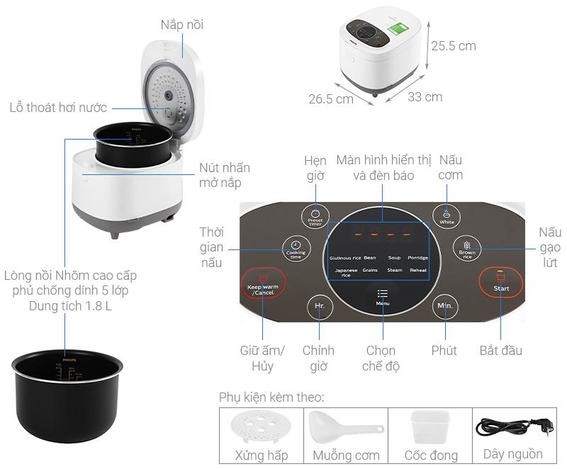 Thông số kỹ thuật Nồi cơm điện tử Philips 1.8 lít HD4533
