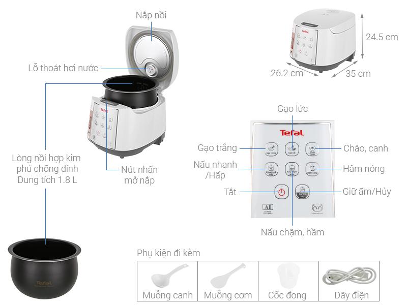 Thông số kỹ thuật Nồi cơm điện tử Tefal 1.8 lít RK732168