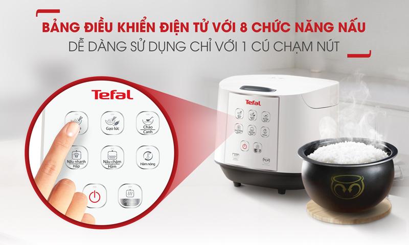 Bảng điều khiển tiếng Việt - Nồi cơm điện tử Tefal 1.8 lít RK732168