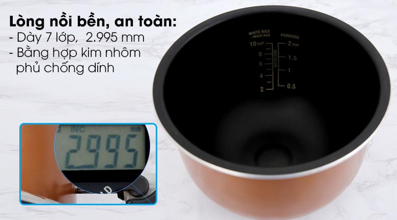 Nồi cơm cao tần Sharp 1.8 lít KS-IH191V-BK - Lòng nồi dày 2.995 mm