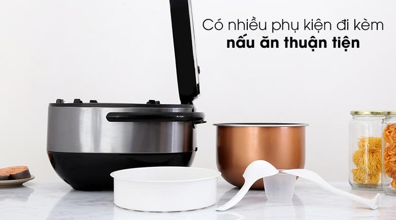 Nồi cơm cao tần Sharp 1.8 lít KS-IH191V-BK - Trang bị xửng hấp, cốc đong, muỗng canh, muỗng cơm