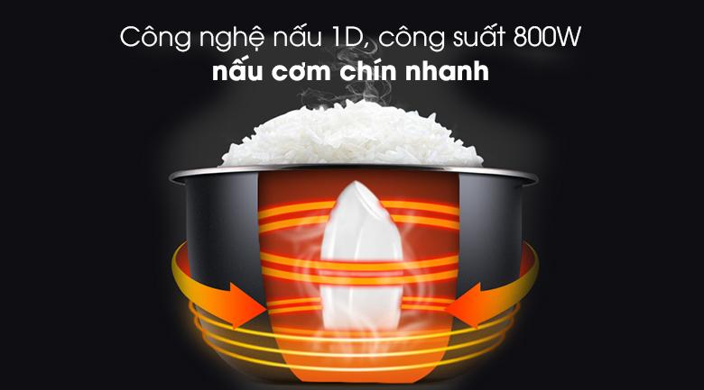 Nồi cơm nắp gài Kangaroo KG18R2 1.8 lít - Nấu cơm chín chỉ trong 20 - 30 phút với công nghệ nấu 1D, công suất 800W