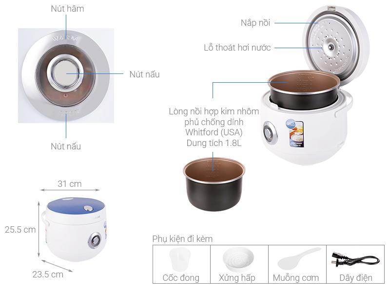 Thông số kỹ thuật Nồi cơm nắp gài Sunhouse SHD8606 1.8 lít