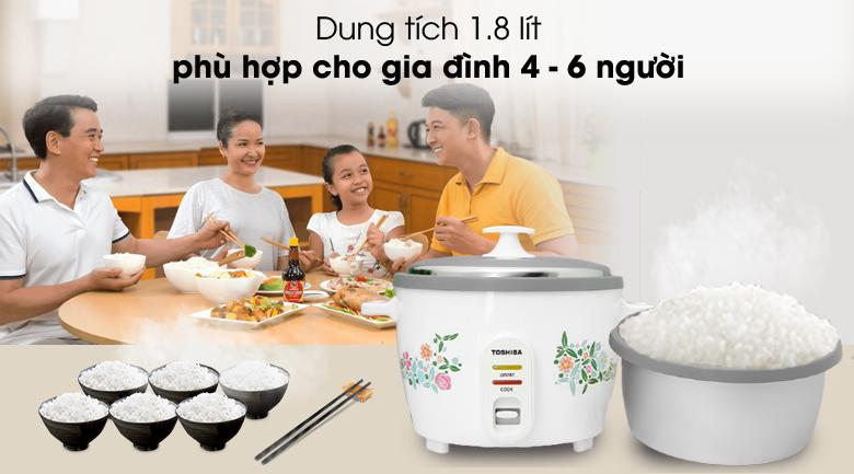 Dùng cho gia đình 4 - 6 người - Nồi cơm nắp rời Toshiba RC-18MH1PV(W) 1.8 lít