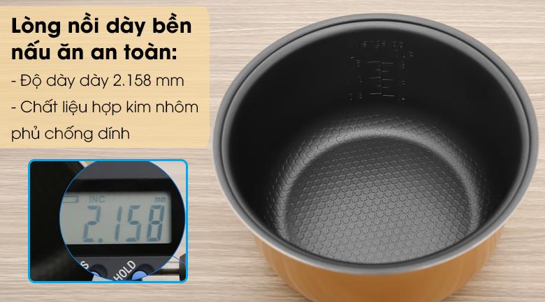 Nồi cơm điện nắp gài Kangaroo KG825 1.5 lít - Lòng nồi làm từ chất liệu hợp kim nhôm phủ chống dính dày 2.158 mm