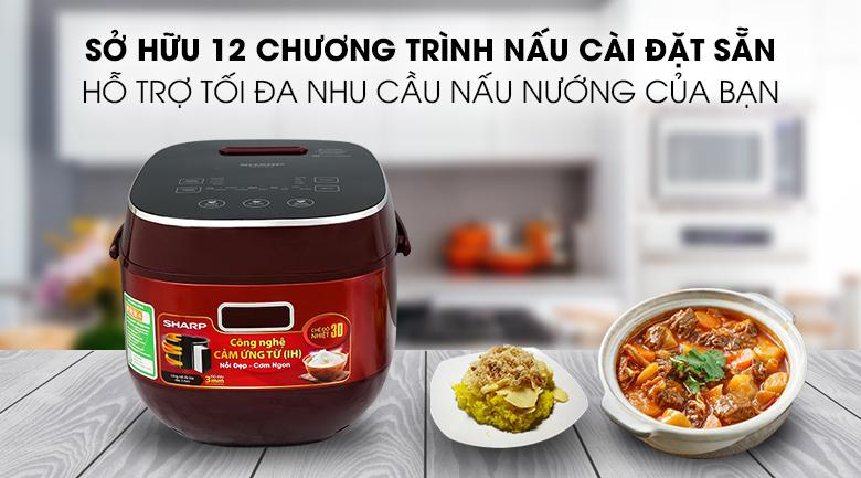 12 chương trình nấu của Nồi cơm cao tần Sharp KS-IH191V-RD 1.8 lít