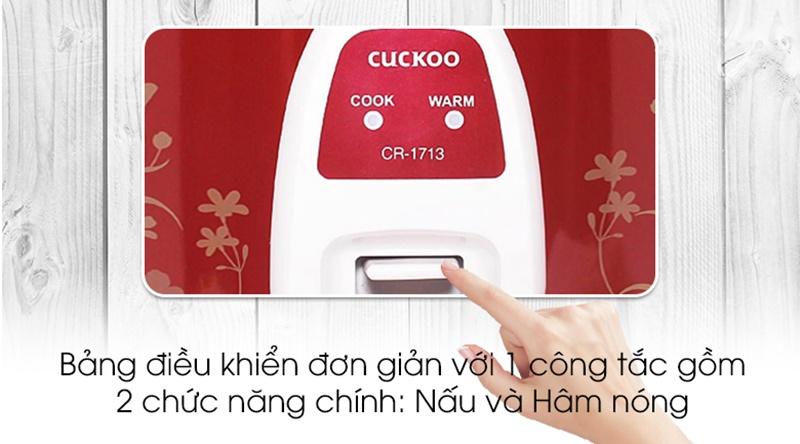 Thiết kế 2 chức năng nấu và hâm nóng, điều khiển bằng nút gạt - Nồi cơm nắp gài Cuckoo CR- 1713 3 lít