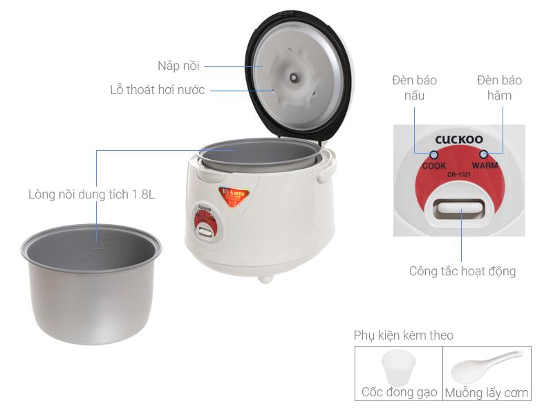 Thông số kỹ thuật Nồi cơm điện Cuckoo 1.8 lít CR-1021