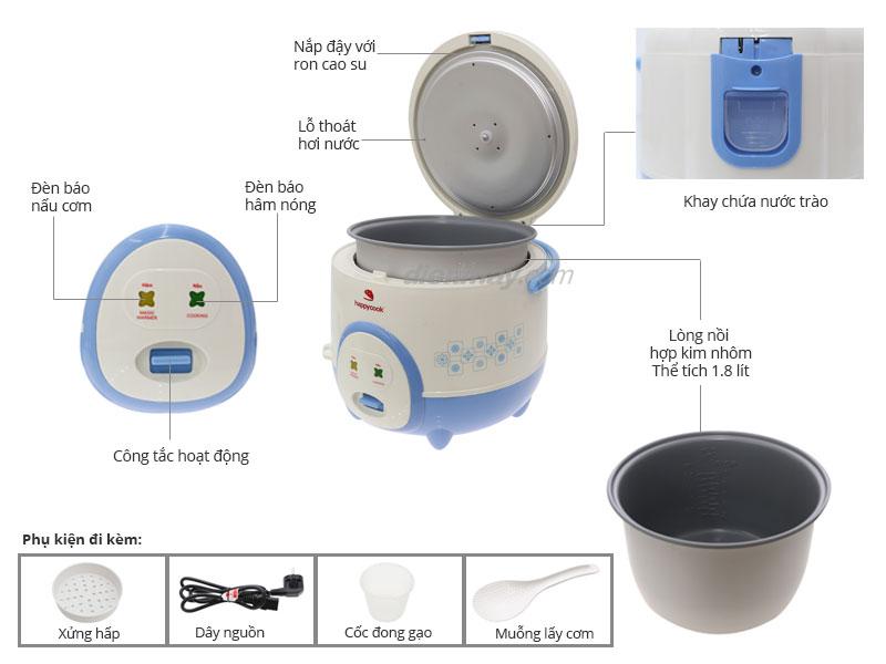 Thông số kỹ thuật Happycook HC-180A 1.8 lít