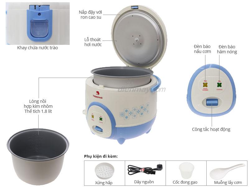Thông số kỹ thuật Nồi cơm điện Happycook HC-180A 1.8 lít