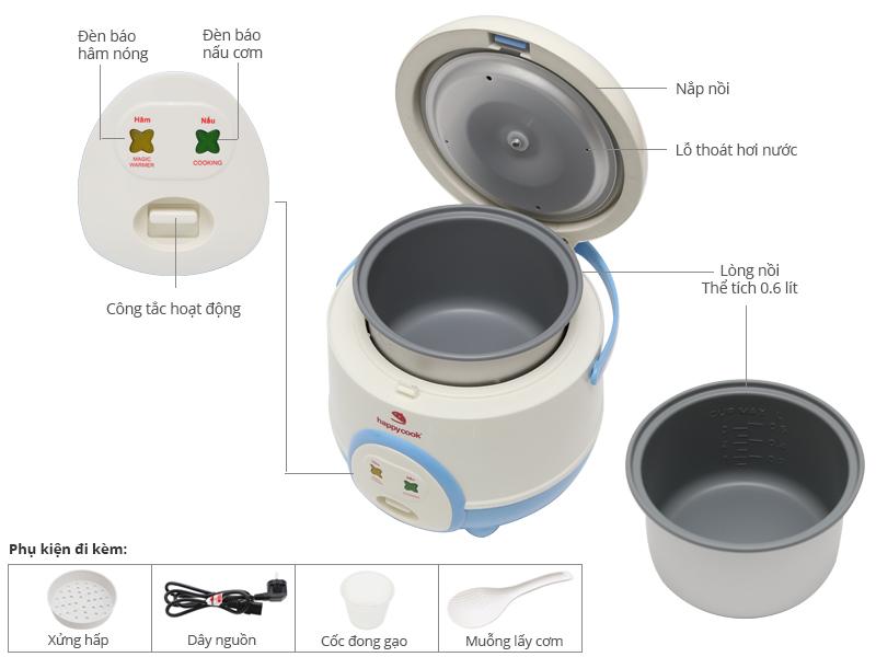 Thông số kỹ thuật Nồi cơm điện Happycook 0.6 lít HC-60 Xanh