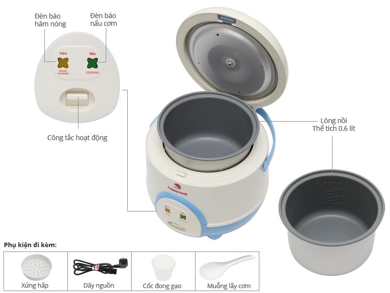 Thông số kỹ thuật Nồi cơm điện Happycook 0.6 lít HC-60