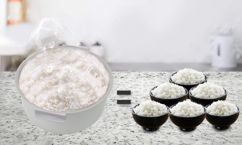 Dung tích 1.8 lít thích hợp gia đình có từ 4 đến 6 người ăn