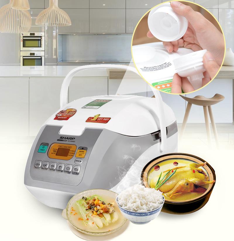 Nắp thoát hơi hạn chế mất hơi nước, giúp giữ lại được lượng vitamin có sẵn trong gạo, tháo rời dễ vệ sinh