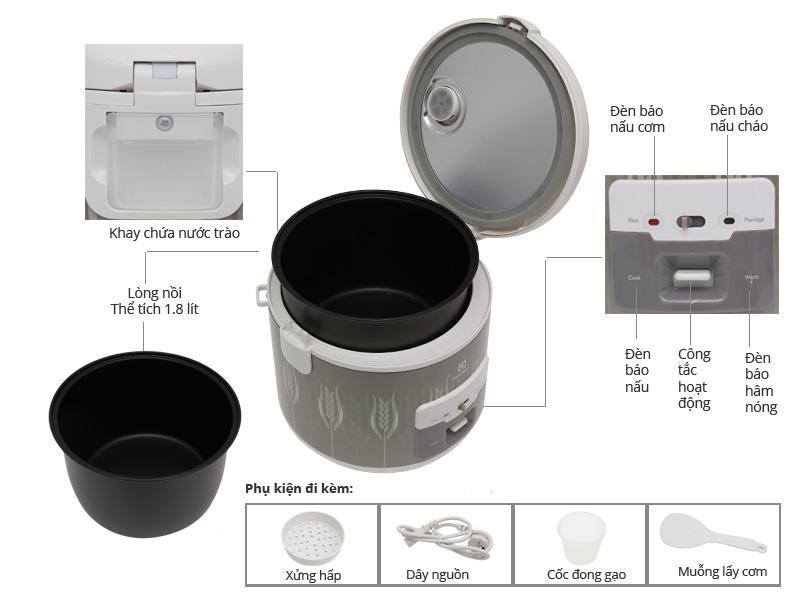 Thông số kỹ thuật Nồi cơm nắp gài Electrolux 1.8 lít ERC2200