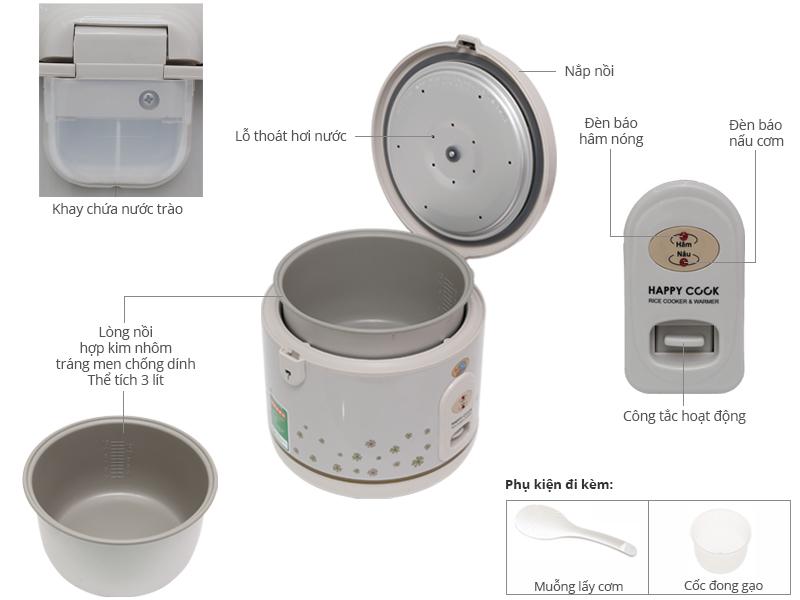 Thông số kỹ thuật Nồi cơm điện Happycook 3 lít HC-300