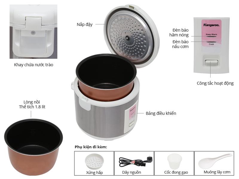 Thông số kỹ thuật Nồi cơm điện Kangaroo KG373S 1,8 lít