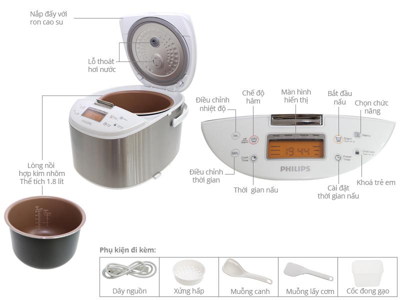 Thông số kỹ thuật Nồi cơm điện Philips 1.8 lít HD3077