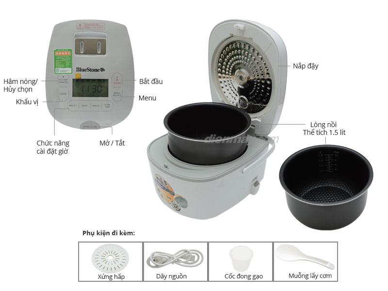 Thông số kỹ thuật Nồi cơm điện Bluestone RCB-5985S 1.5 lít