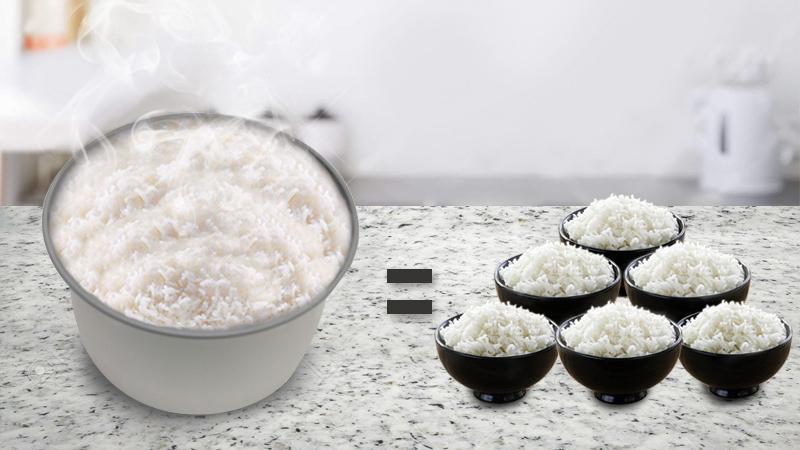 Dung tích 1.8 lít nấu cơm đủ cho 4 đến 6 người ăn