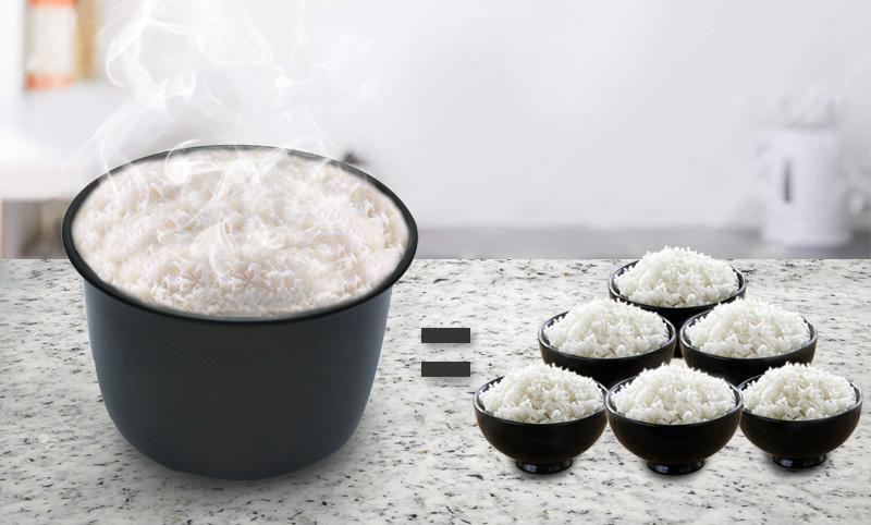 Dung tích 1.8 lít thích hợp nấu cơm cho gia đình 4 - 6 người