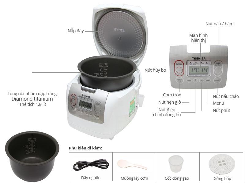 Thông số kỹ thuật Nồi cơm điện Toshiba 1.8 lít RC-18NMF(WT)VN