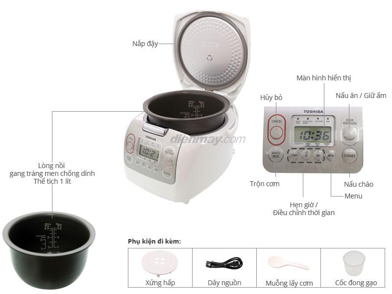 Thông số kỹ thuật Nồi cơm điện tử ToshiBa RC-10NMF(WT)VN