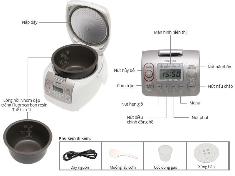 Thông số kỹ thuật Nồi cơm điện Toshiba 1 lít RC-10NMF(WT)VN