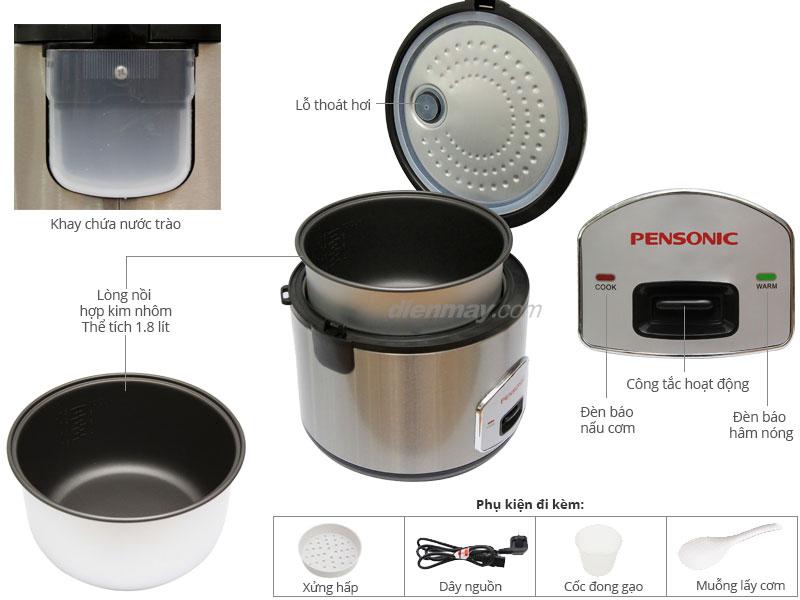 Thông số kỹ thuật Nồi cơm nắp gài Pensonic PSR-18ES 1.8 Lit