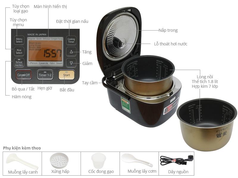 Thông số kỹ thuật Nồi cơm cao tần Panasonic 1.8 lít SR-HB184KRA