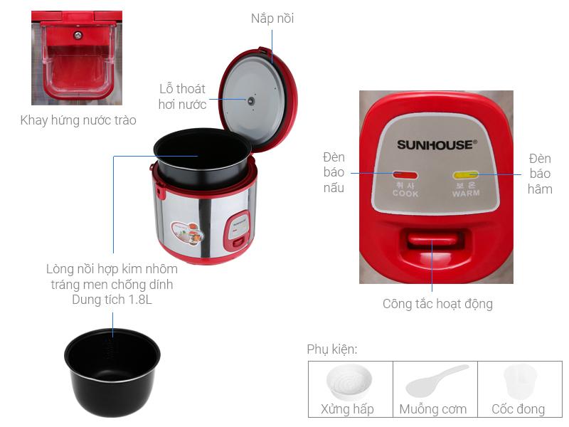 Thông số kỹ thuật Nồi cơm điện Sunhouse 1.8 lít SHD 18S