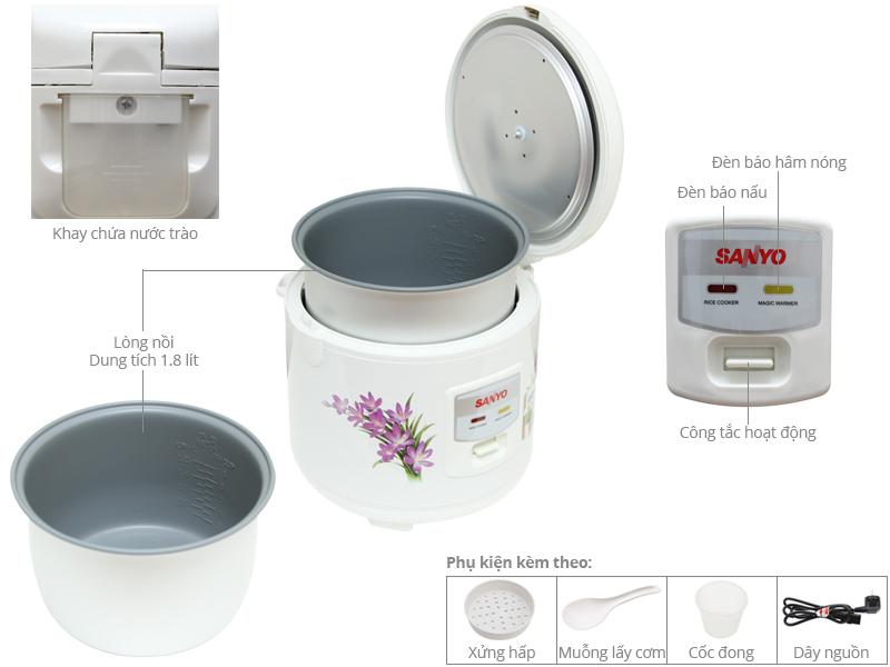 Thông số kỹ thuật Nồi cơm điện Sanyo 1.8 lít ECJ-SP18A