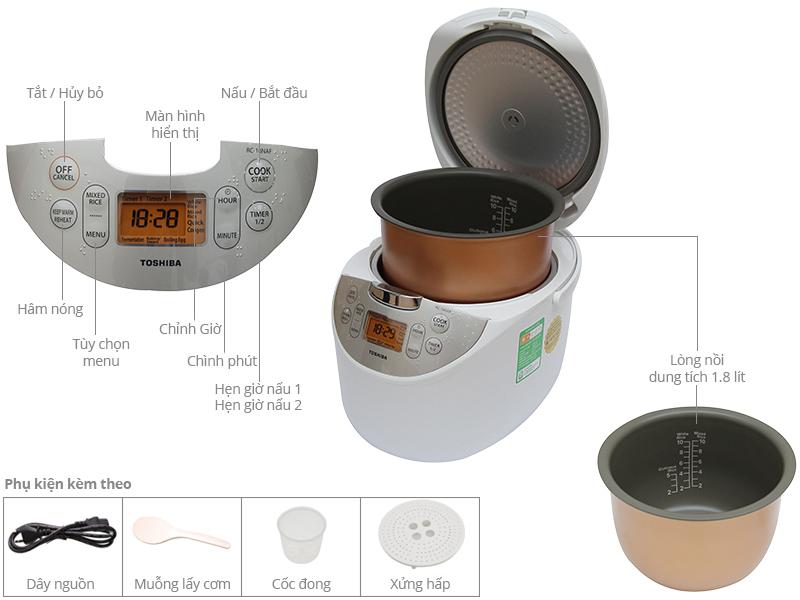 Thông số kỹ thuật Nồi cơm điện ToshiBa 1.8 lít RC-18NAF(W)VN