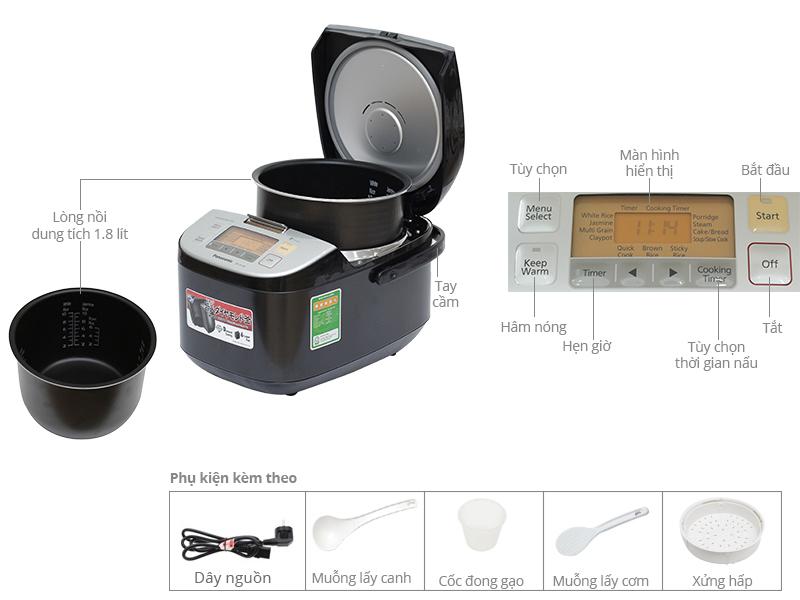 Thông số kỹ thuật Nồi cơm điện Panasonic 1.8 lít SR-ZX185KRAM