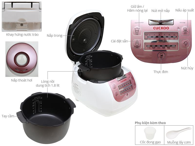 Thông số kỹ thuật Nồi cơm điện tử Cuckoo 1.8 lít CRP-G1015M