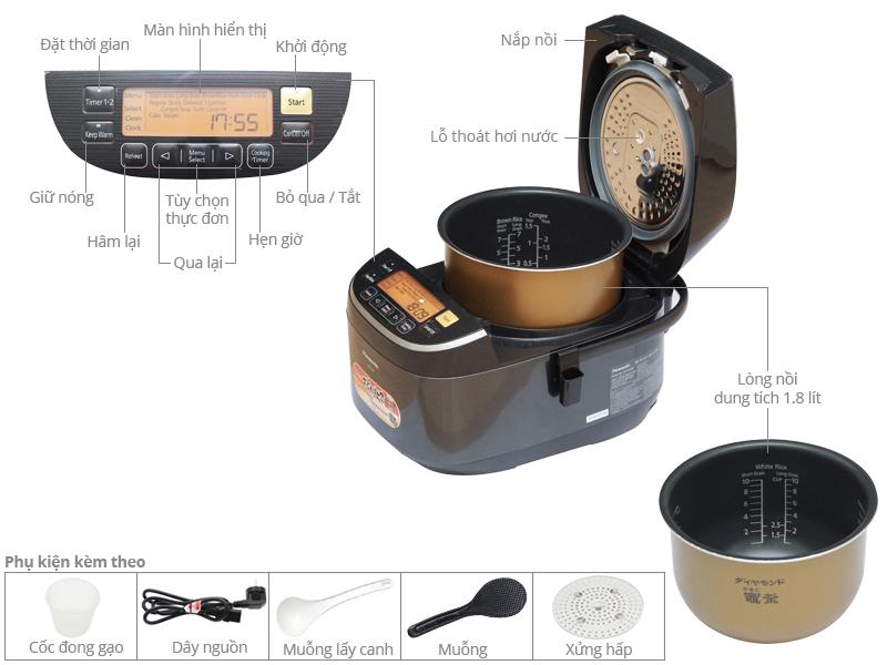 Thông số kỹ thuật Nồi cơm điện cao tần Panasonic 1.8 lít SR-PX184K