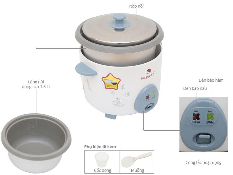 Thông số kỹ thuật Nồi cơm điện Happycook 1.8 lít HCD-180